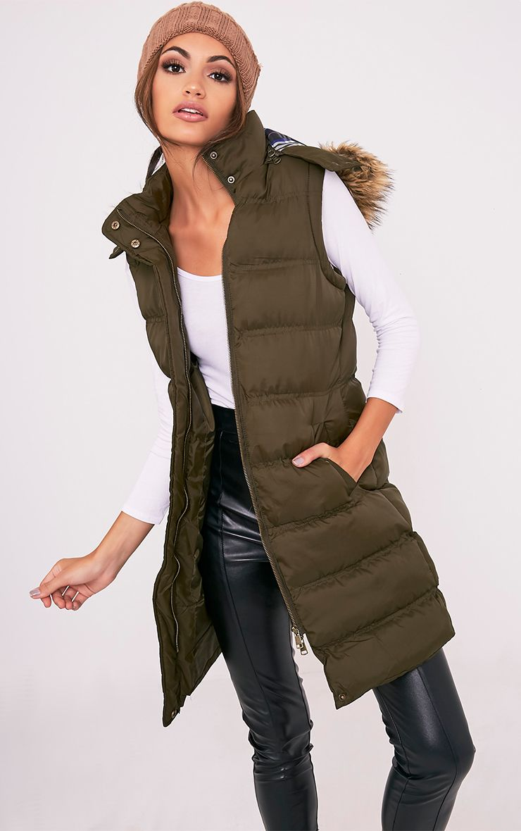 Odee Khaki Sleeveless Puffer Fur Collar Gilet 1