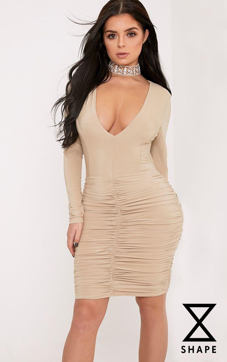Shape Alyssah Nude Slinky Ruched Mini Dress