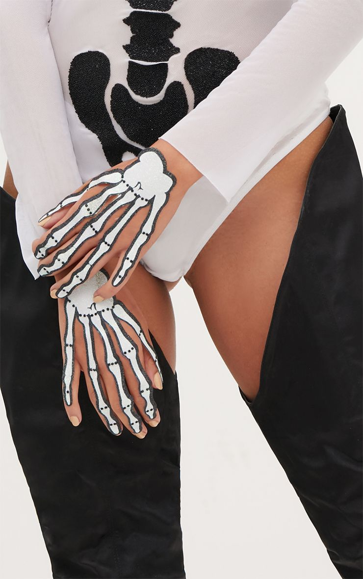 Halloween Two Pack Glitter Skeleton Hand Stickers 1