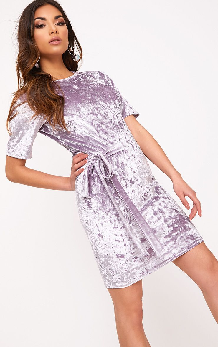 Lula Lilac Crushed Velvet Tie Side T Shirt Dress