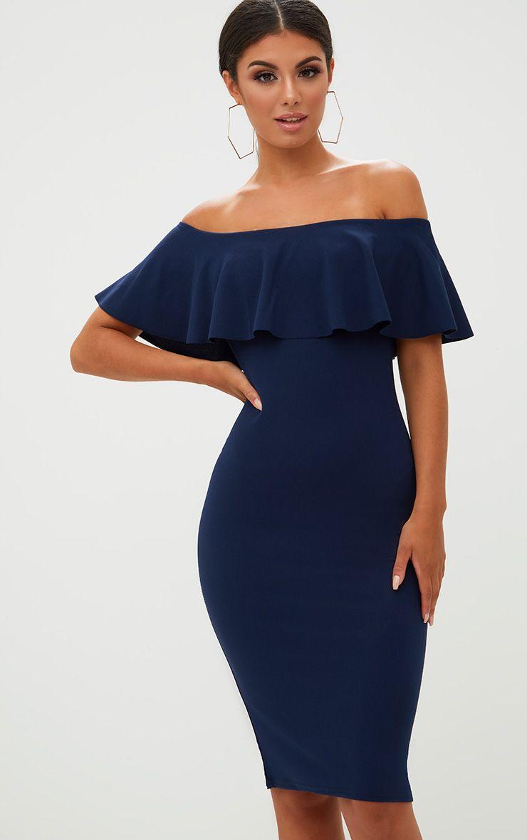 Navy Bardot Frill Midi Dress