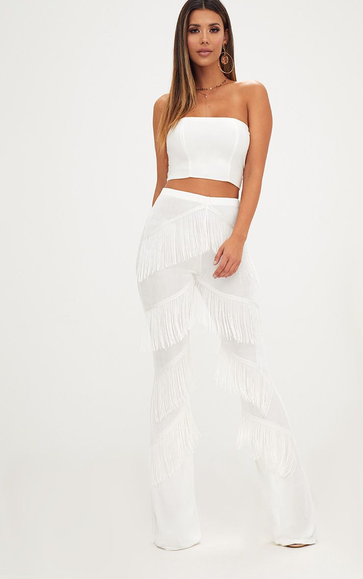 White Slinky Tiered Fringe Flared Trousers