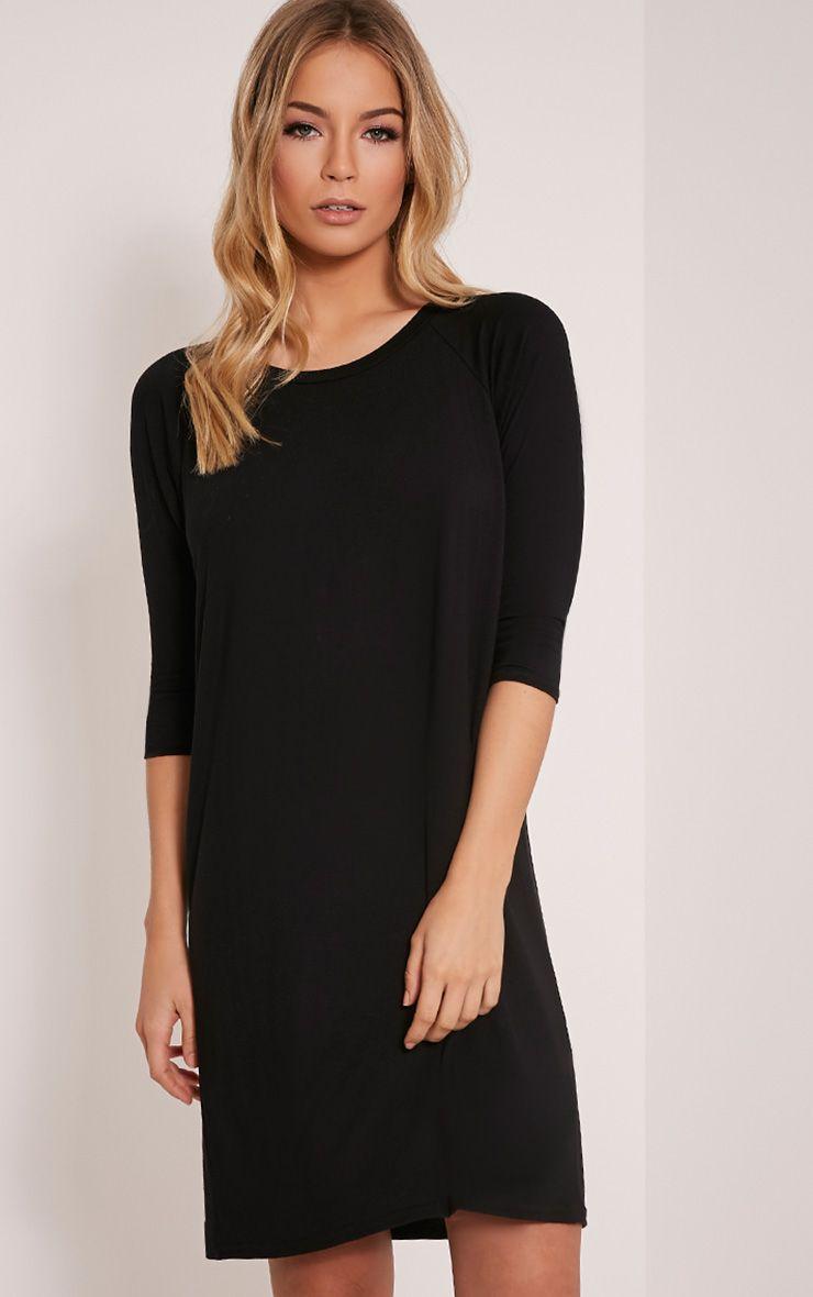 Kalei Black Raglan Sleeve T Shirt Dress 1