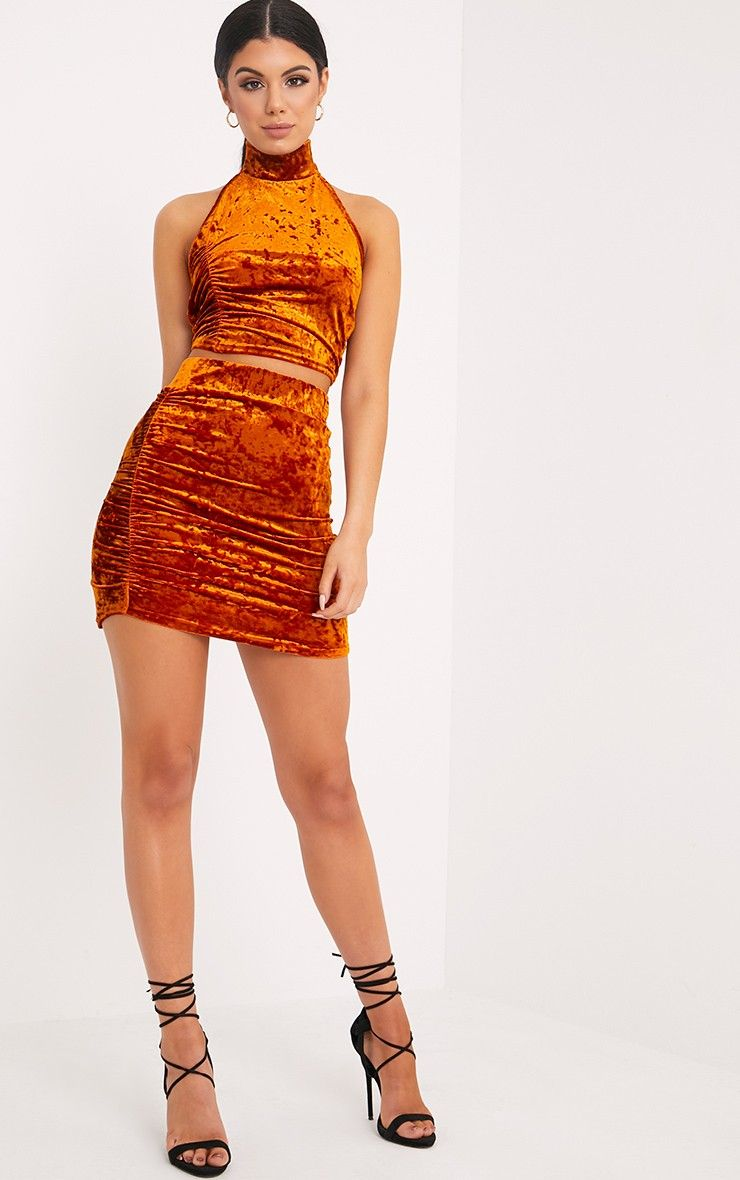 Elettra Bronze Crushed Velvet Side Ruched Mini Skirt