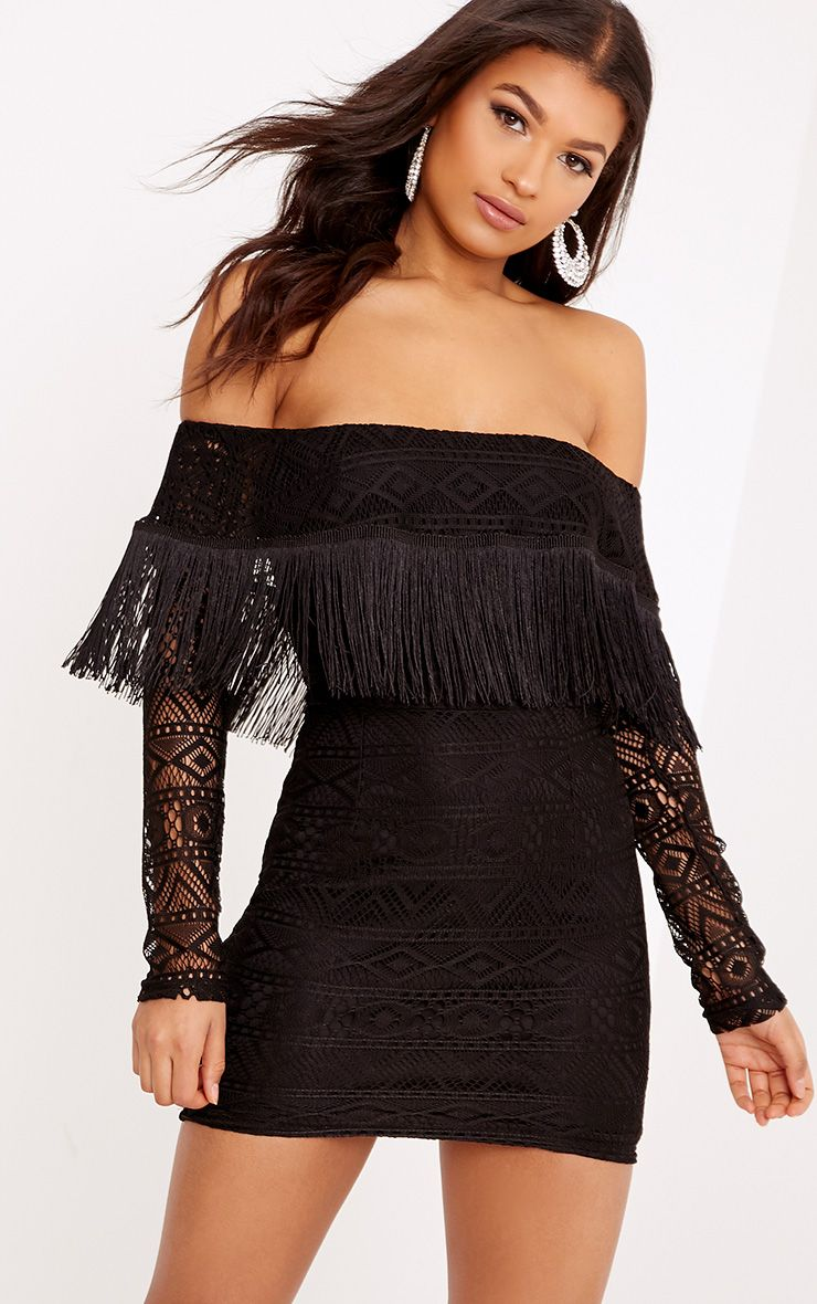 Sadie Black Tassel Detail Lace Bardot Bodycon Dress