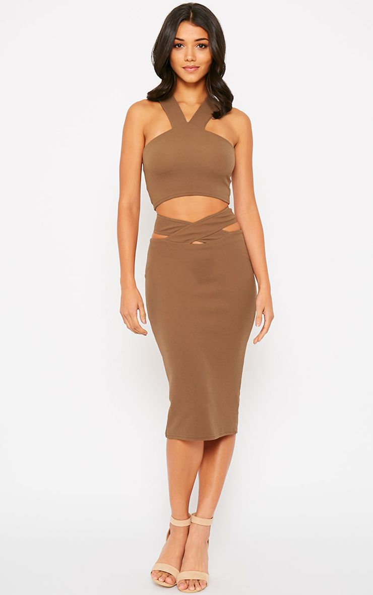 Shanel Mocha Cut Out Midi Skirt 1