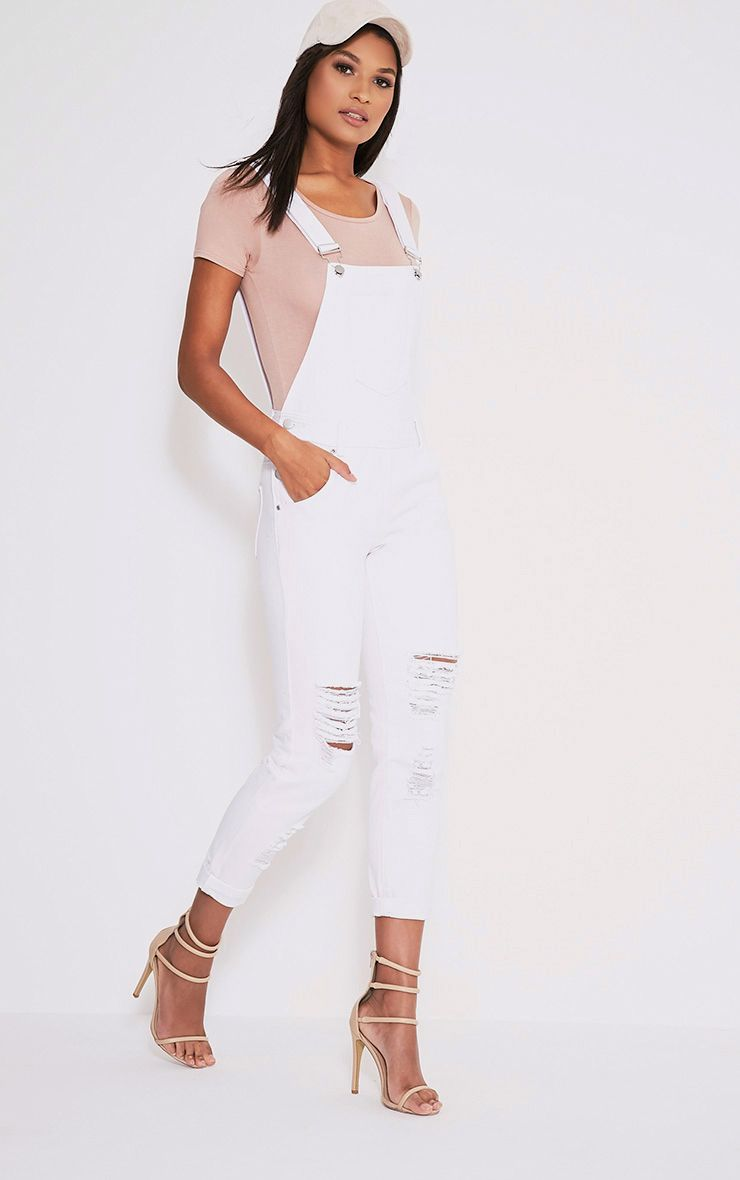 Ann White Denim Dungarees