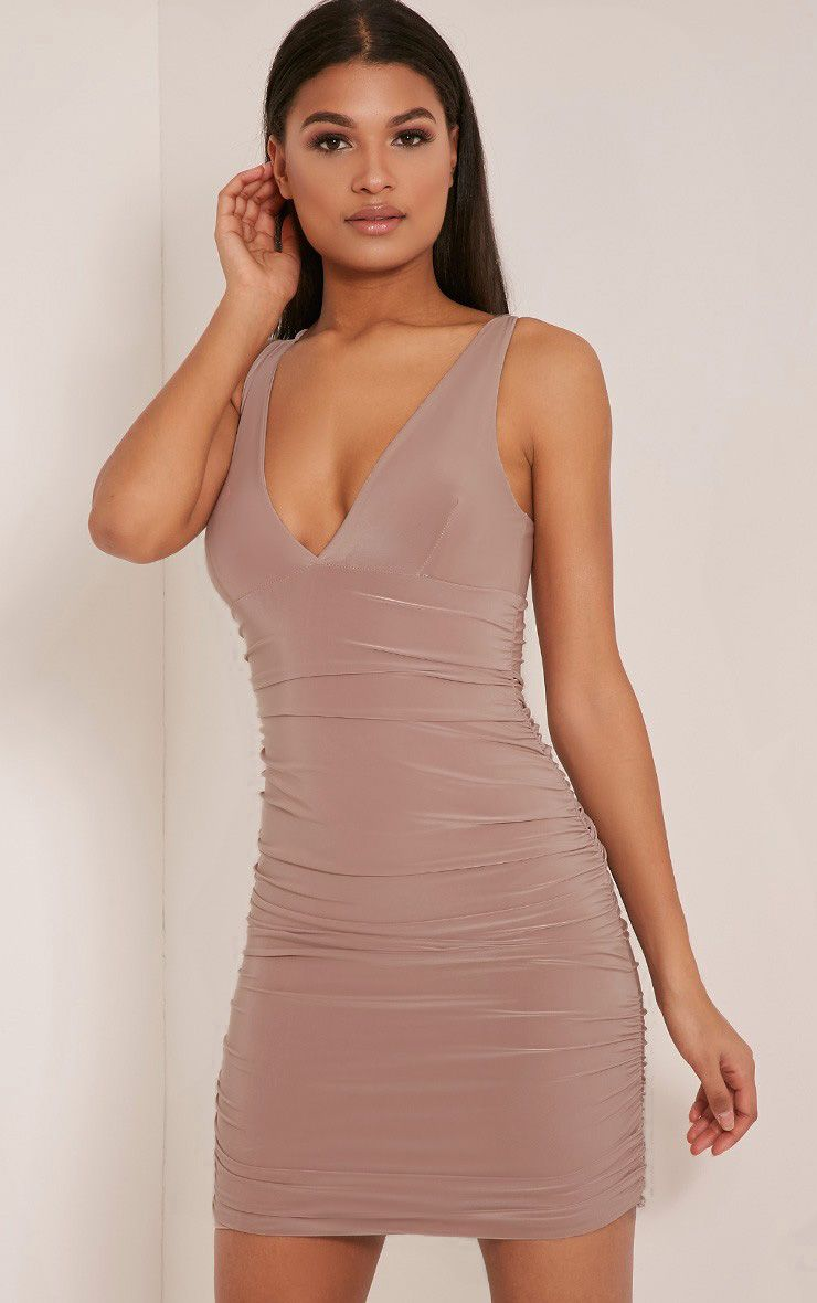 Agness Rose Cross Back Ruched Bodycon Dress