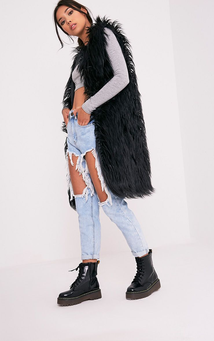 Brogen Black Soft Faux Fur Longline Gilet
