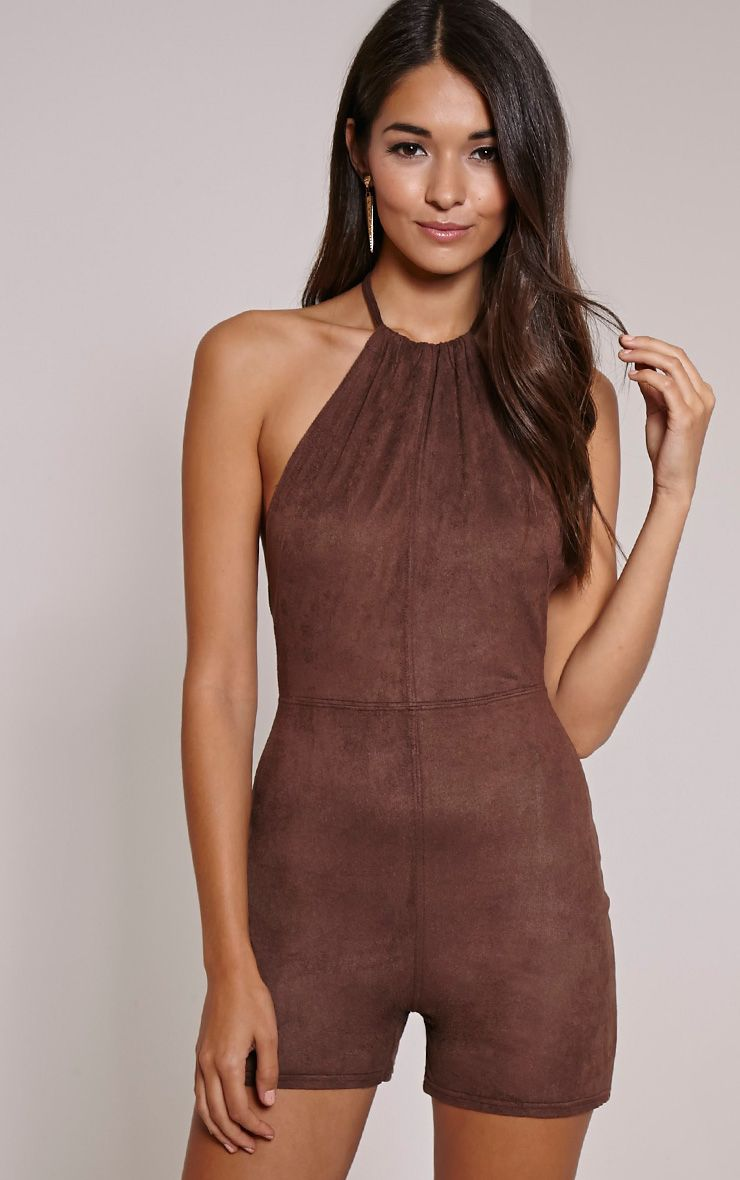Stacy Chocolate Faux Suede Halterneck Playsuit 1