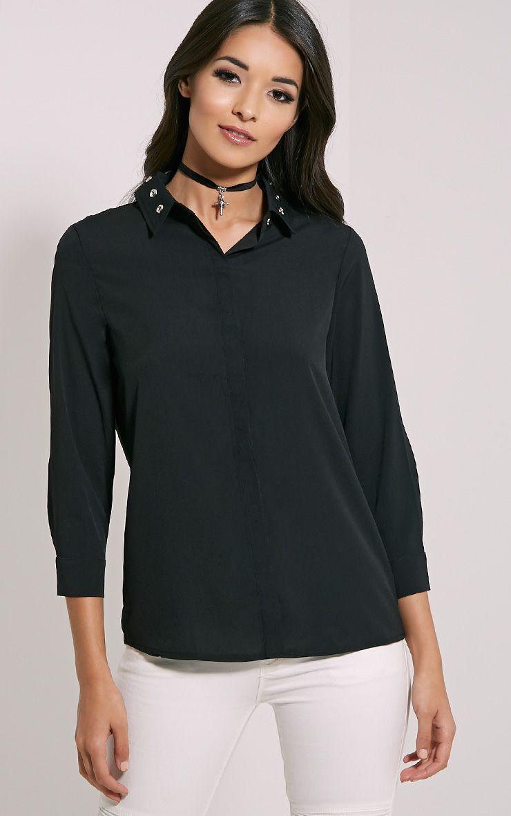 Kiki Black Eyelet Detail Shirt 1