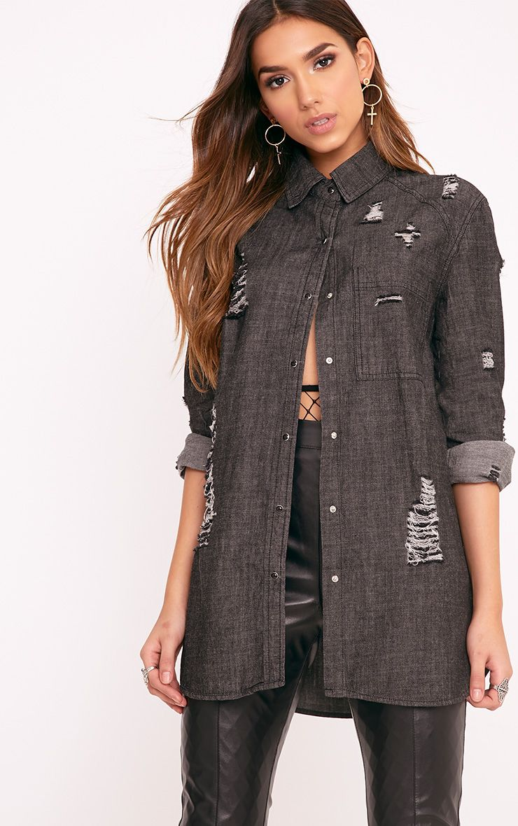 Miae Black Distressed Oversized Denim Shirt