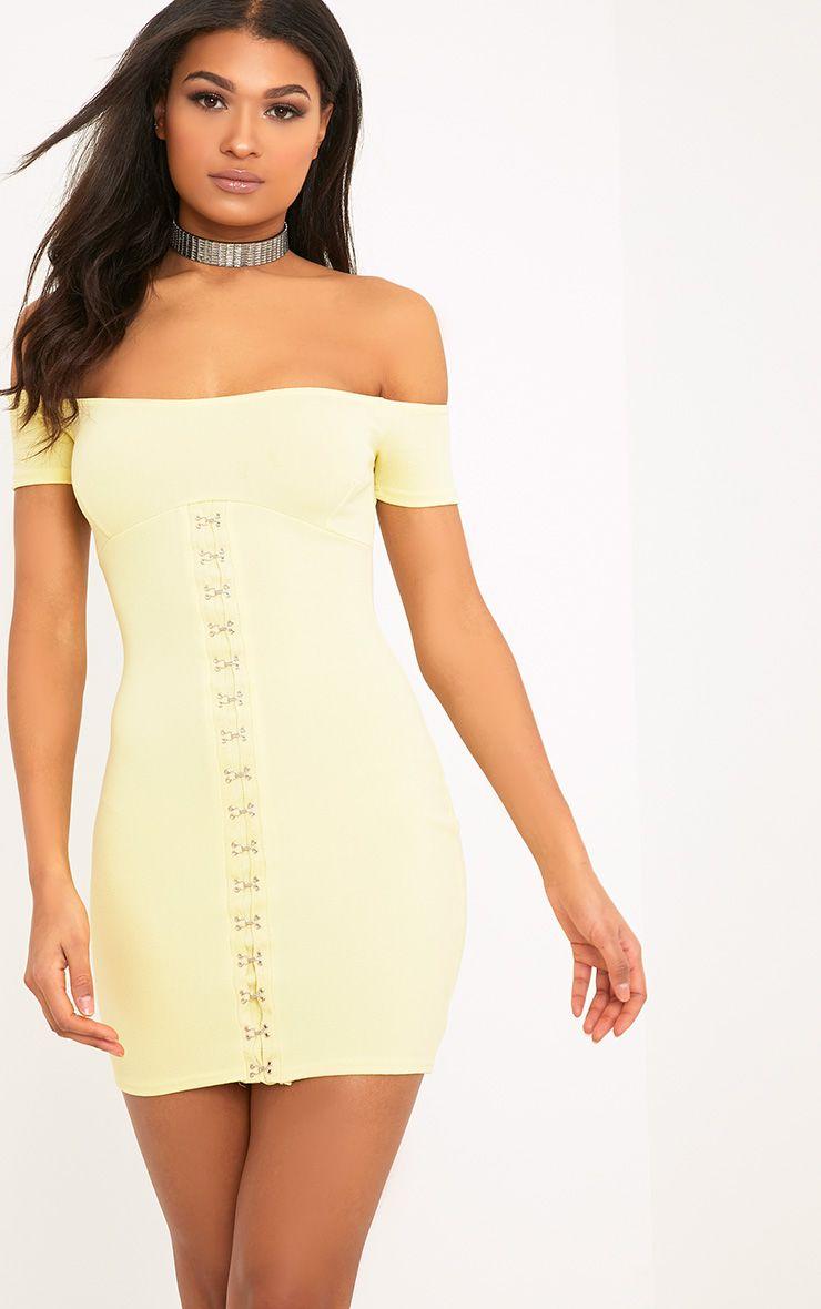 Millia Lemon Bardot Hook And Eye Detail Bodycon Dress