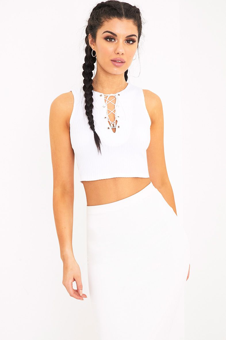 Areona White Jersey Rib Lace Up Crop Top