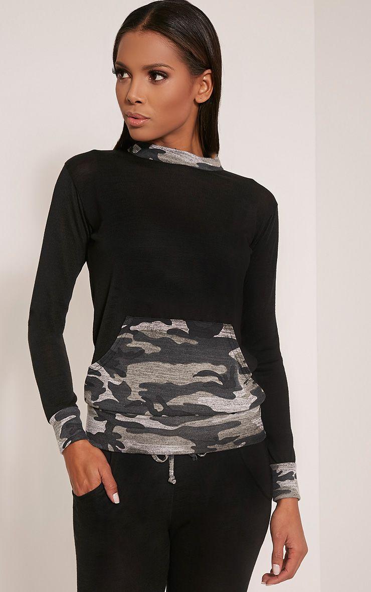Kimora Black Camouflage Contrast Tracksuit Sweatshirt 1