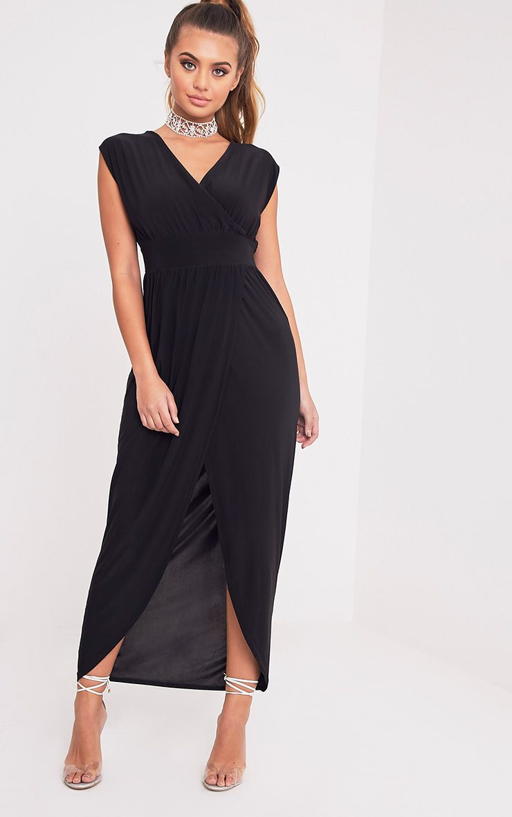 Marlisa Black Slinky Plunge Maxi Dress