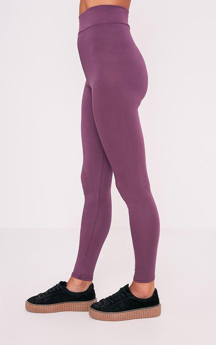 Basic legging aubergine taille haute en jersey 4