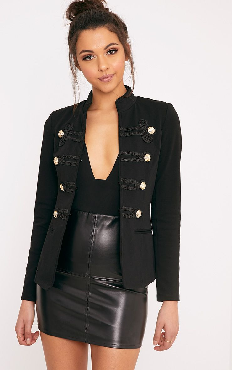 Karaa Black Cropped Military Detail Jacket