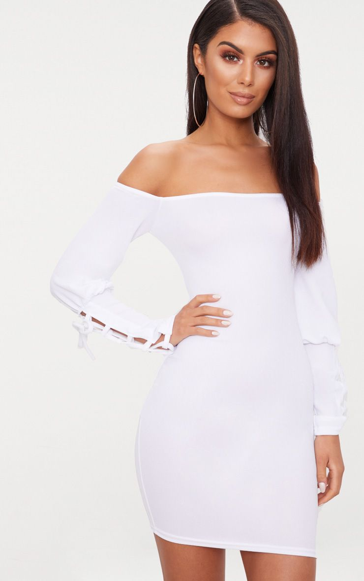 White Lace Up Sleeve Bardot Bodycon Dress