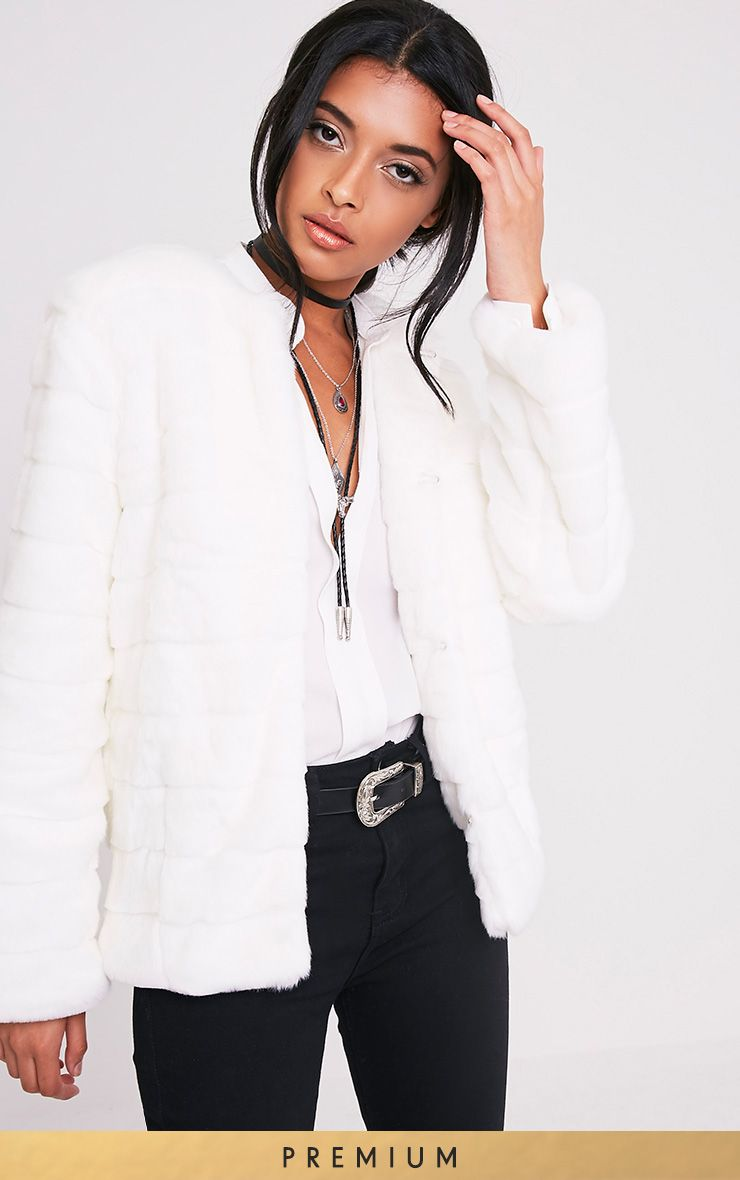 Milla White Premium Faux Bubble Fur Jacket