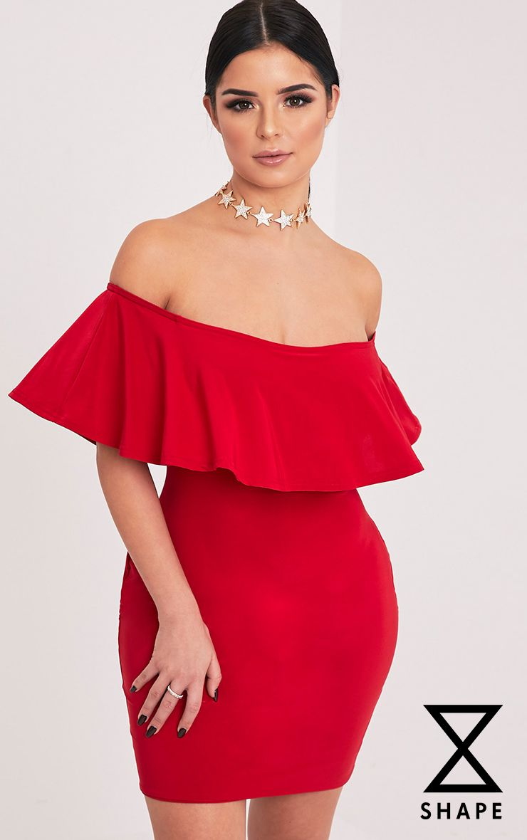 Shape Rosally Red Bardot Mini Dress