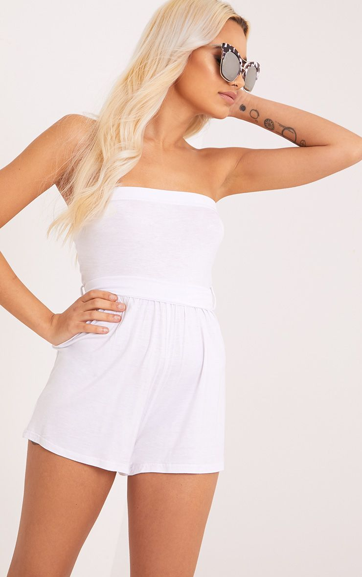 Ieshah White Jersey Bandeau Playsuit