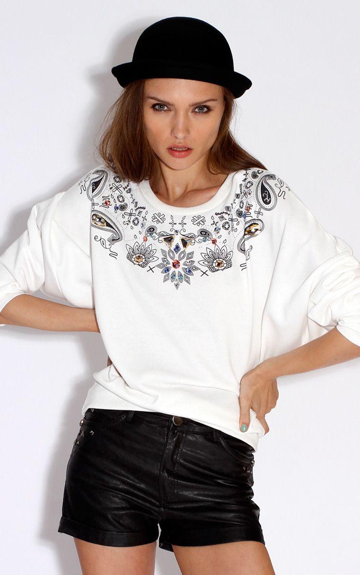 Pria White Print & Jewel Jumper White