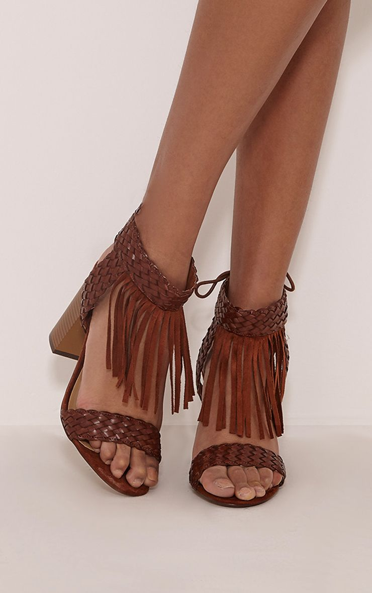 Kelli Tan Fringed Heeled Sandals 1