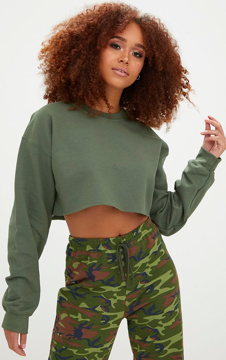 Khaki Ultimate Cropped Sweater