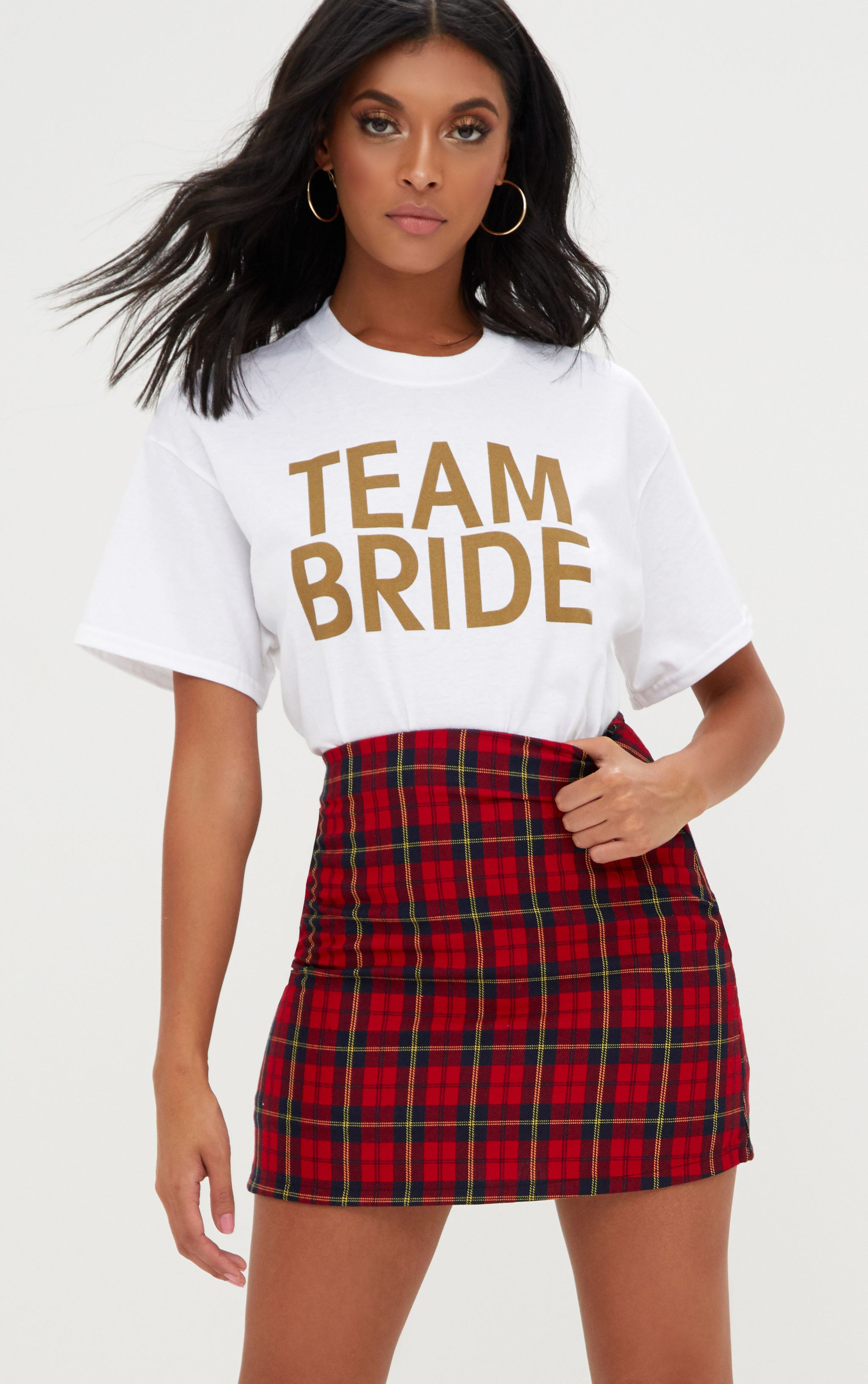 TEAM BRIDE White Slogan T Shirt