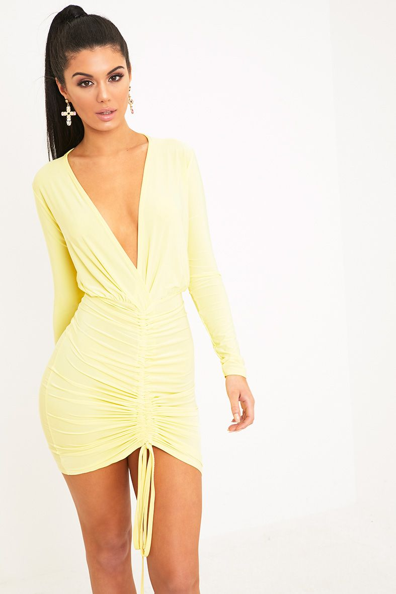 Oriana Lemon Plunge Ruched Front Bodycon Dress