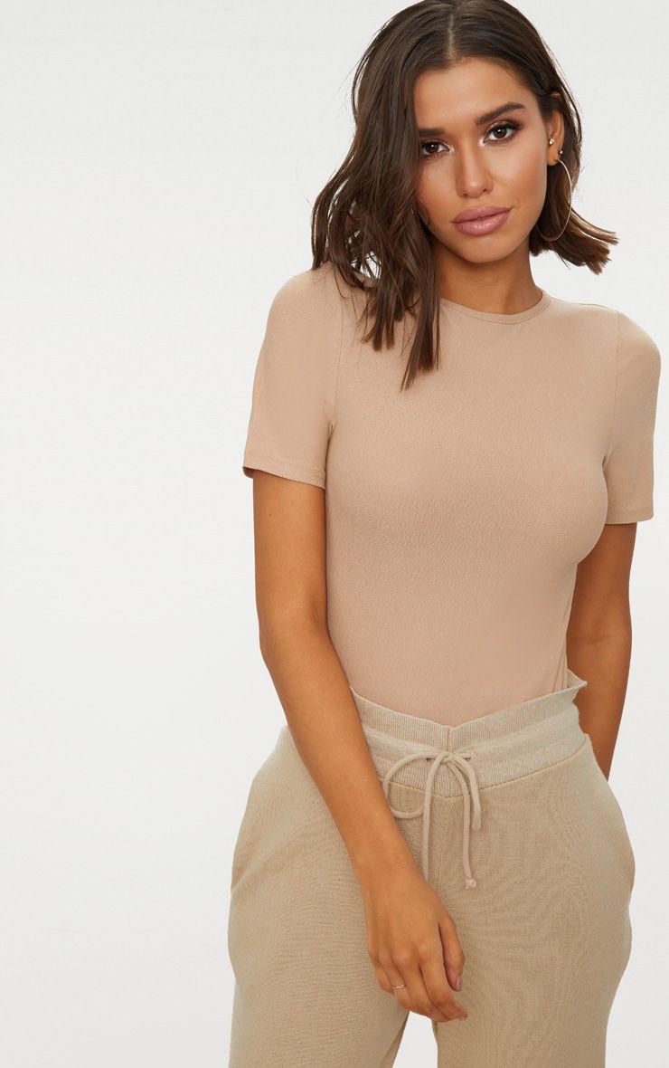 Stone Crepe Short Sleeve Thong Bodysuit