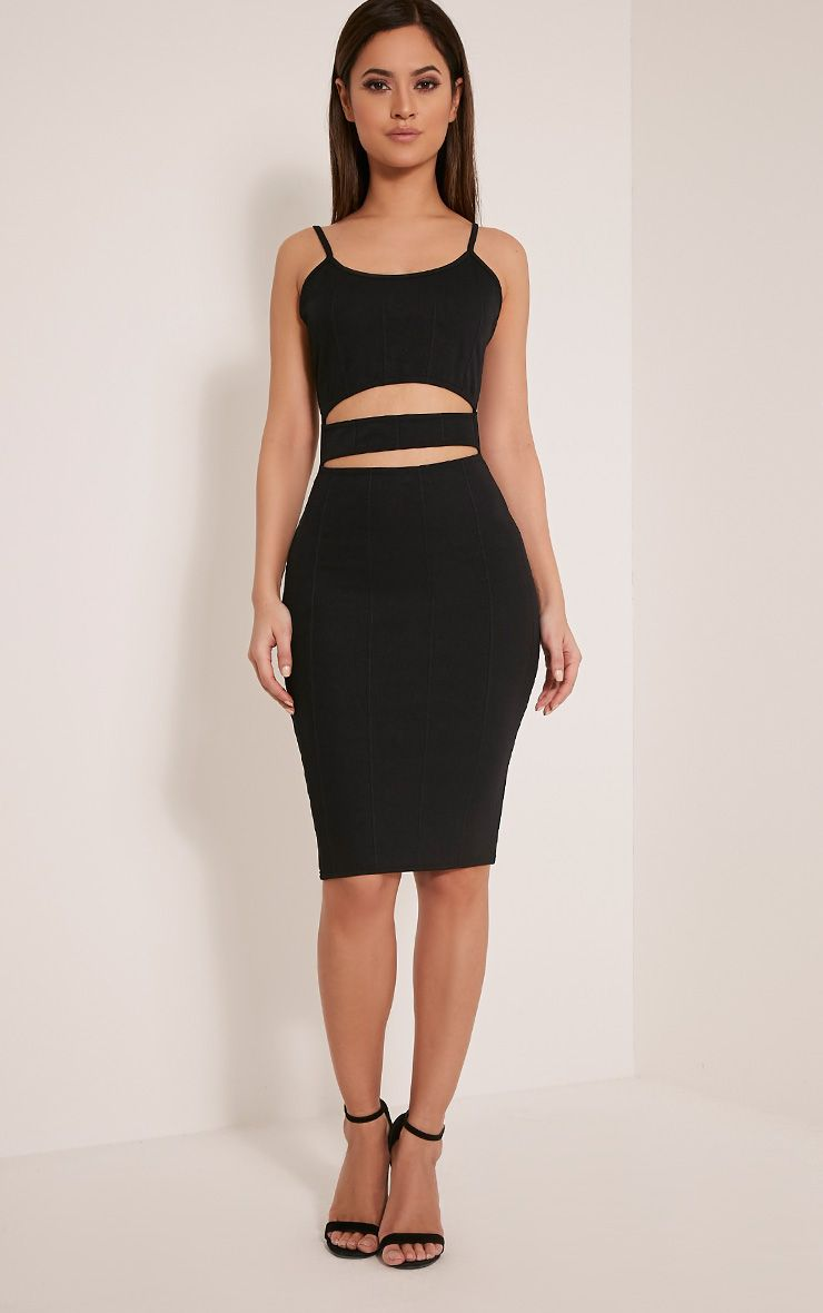 Remia Black Bandage Cut Out Midi Dress 1