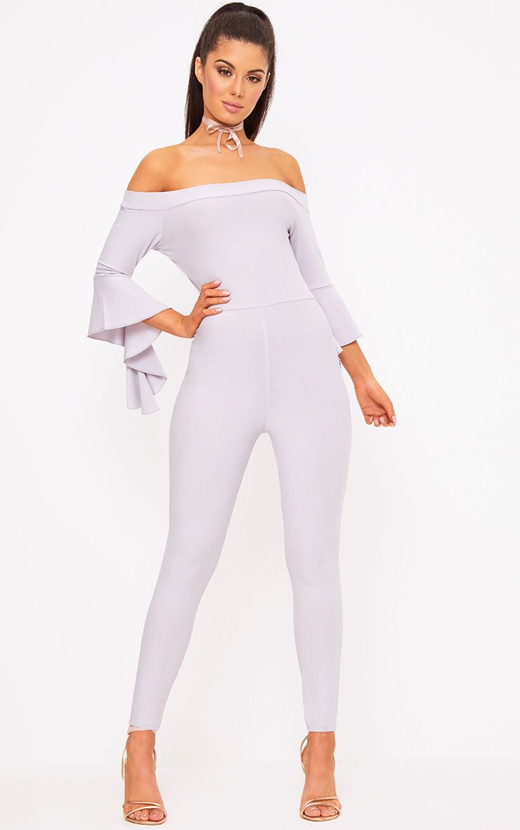 Grey Bardot Frill Arm Jumpsuit