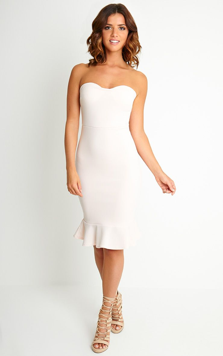 Helina Nude Bandeau Drop Hem Midi Dress 1