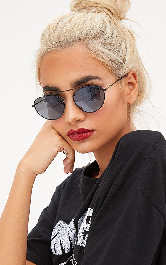 Black Retro Style Aviator Sunglasses