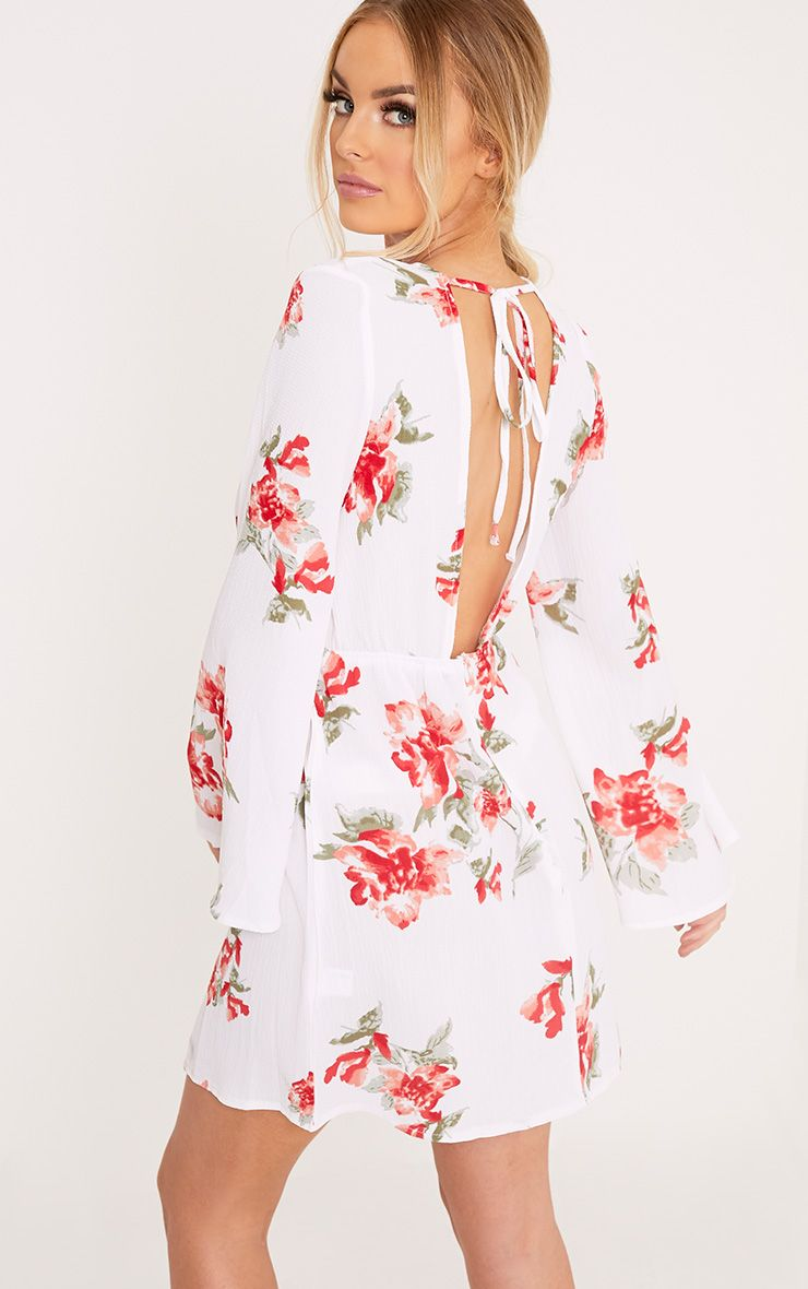 Ellissia White Floral Print Open Back Shift Dress
