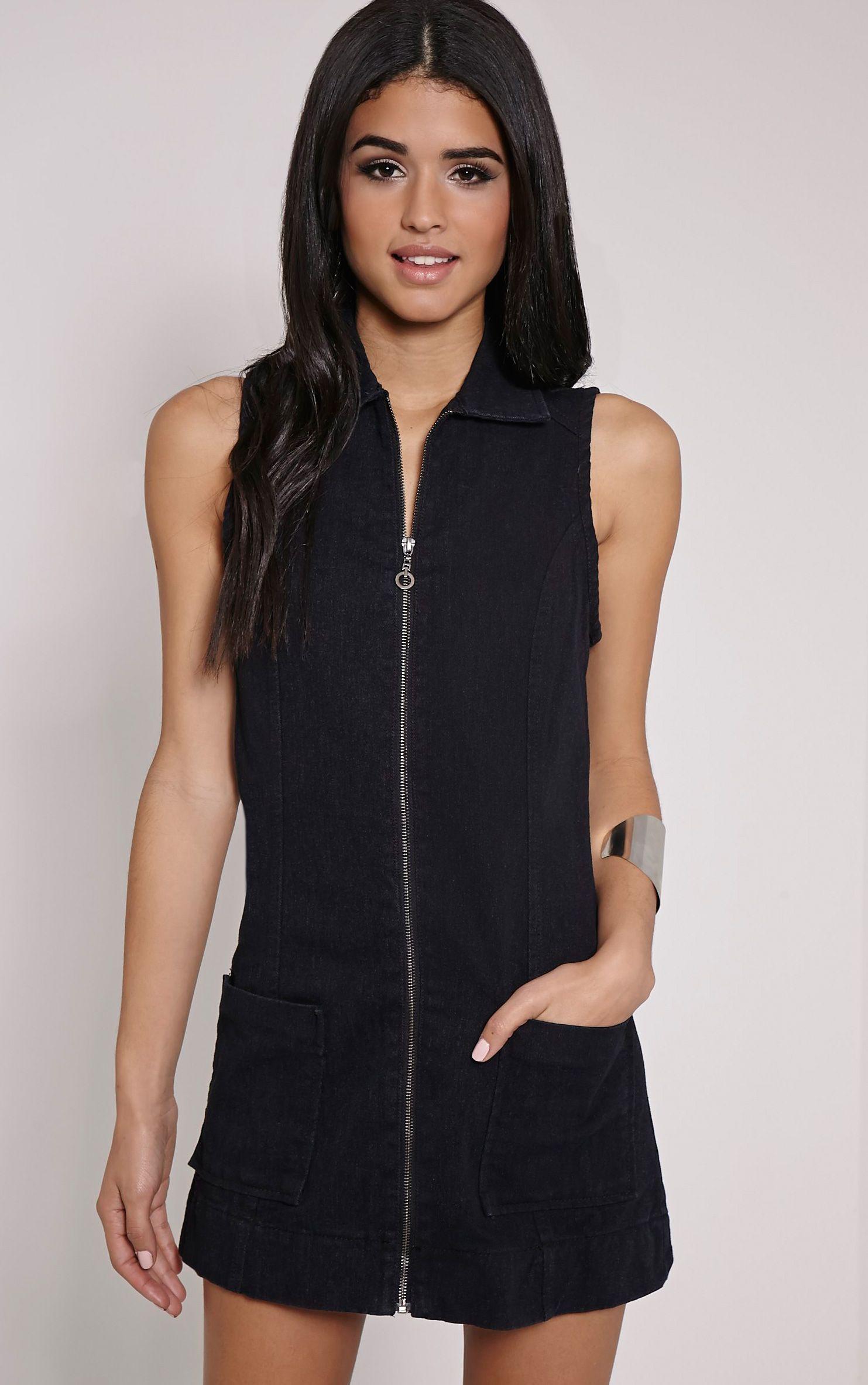 Moxie Black Zip Front Denim Dress 1