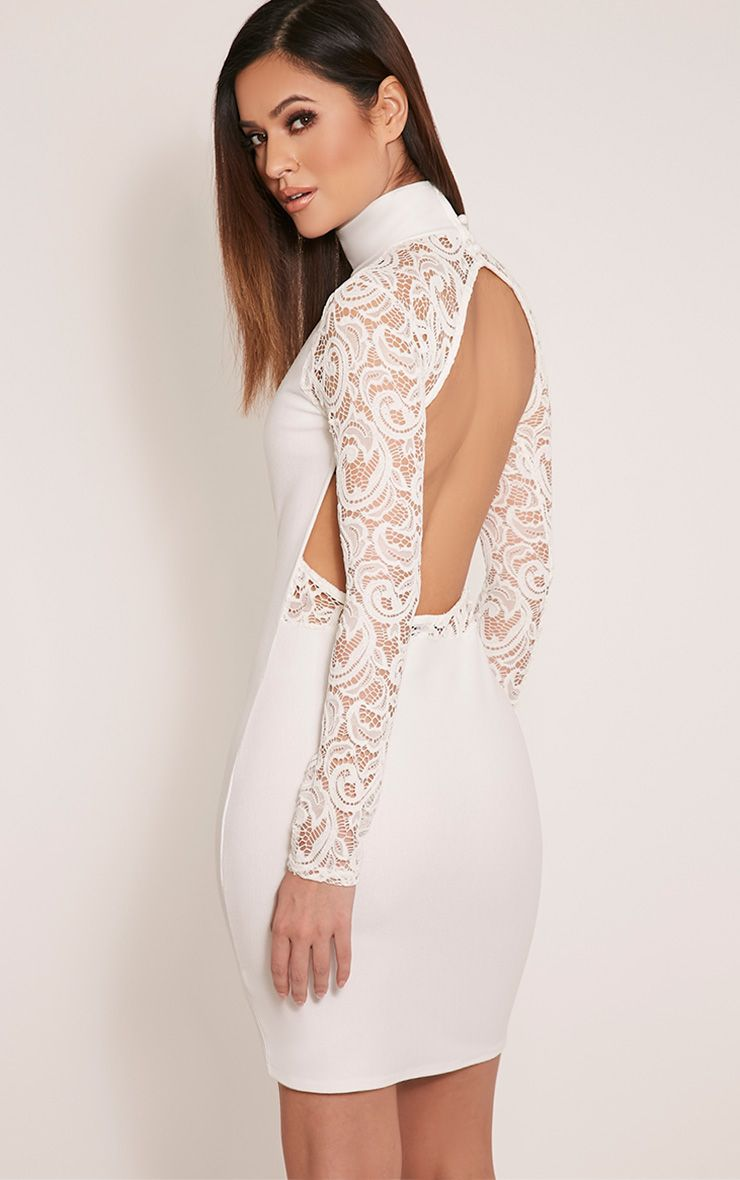 Bethenny Cream Cut Out Back Lace Insert Bodycon Dress 1