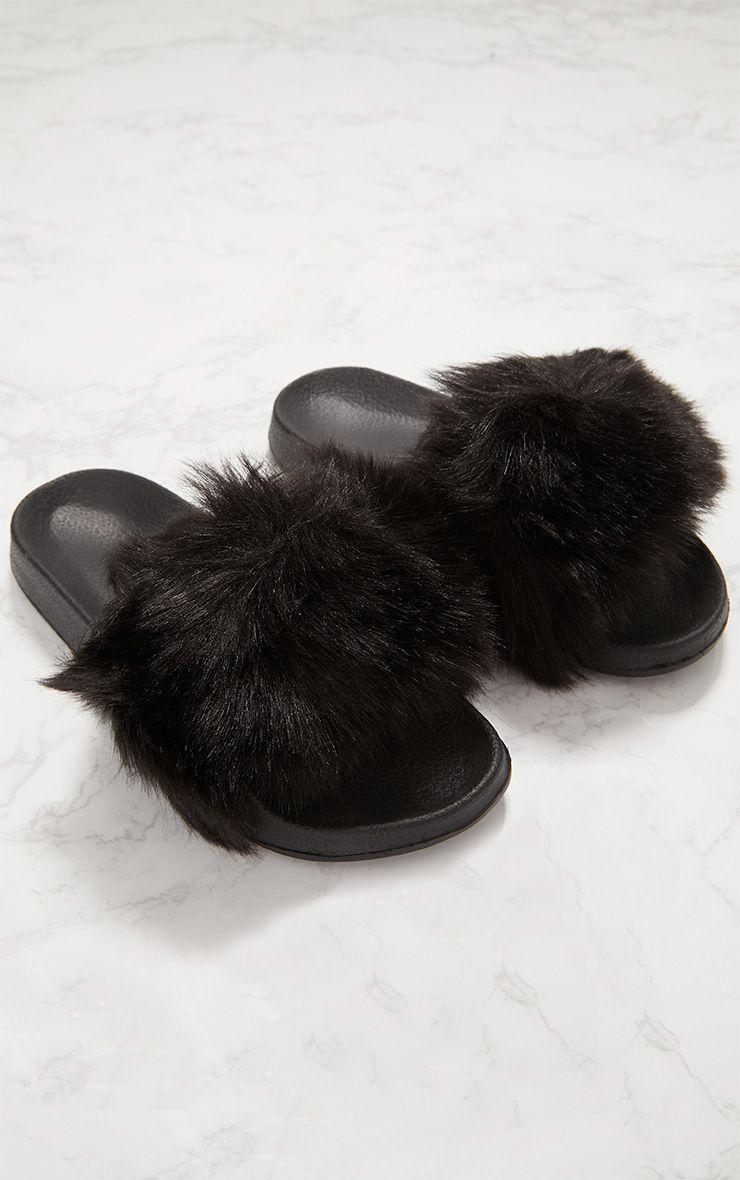 Black Faux Fur Slider