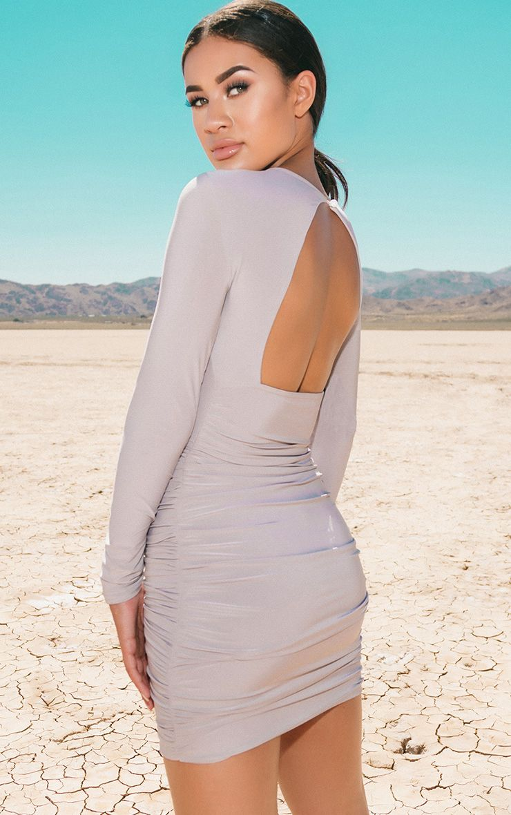 Ice Grey Long Sleeve Ruched Open Back Bodycon Dress