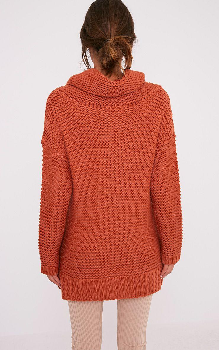 Camarina pull tricoté épais à col roulé cannelle 2