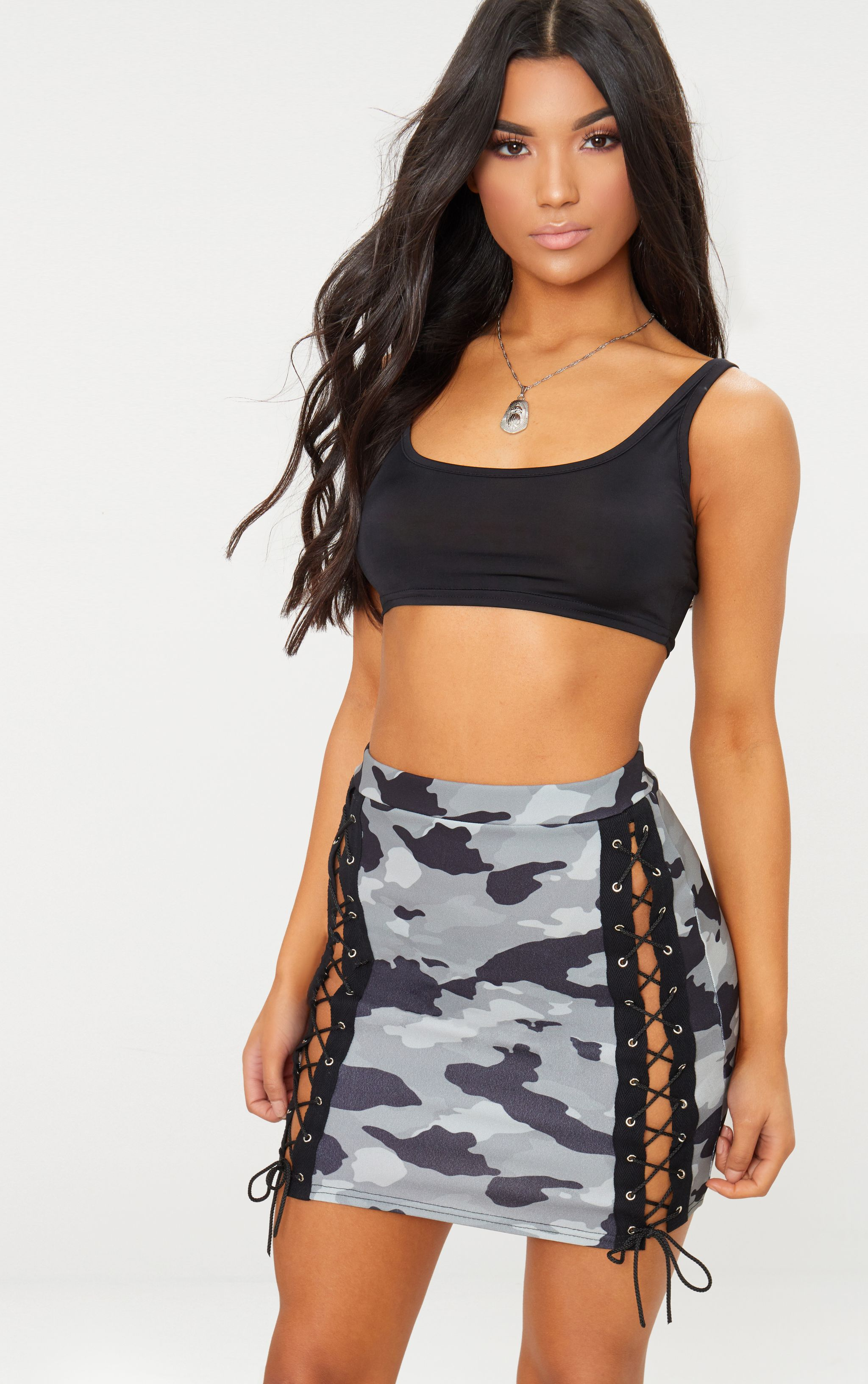 Grey Camo Print Lace Up Front Mini Skirt
