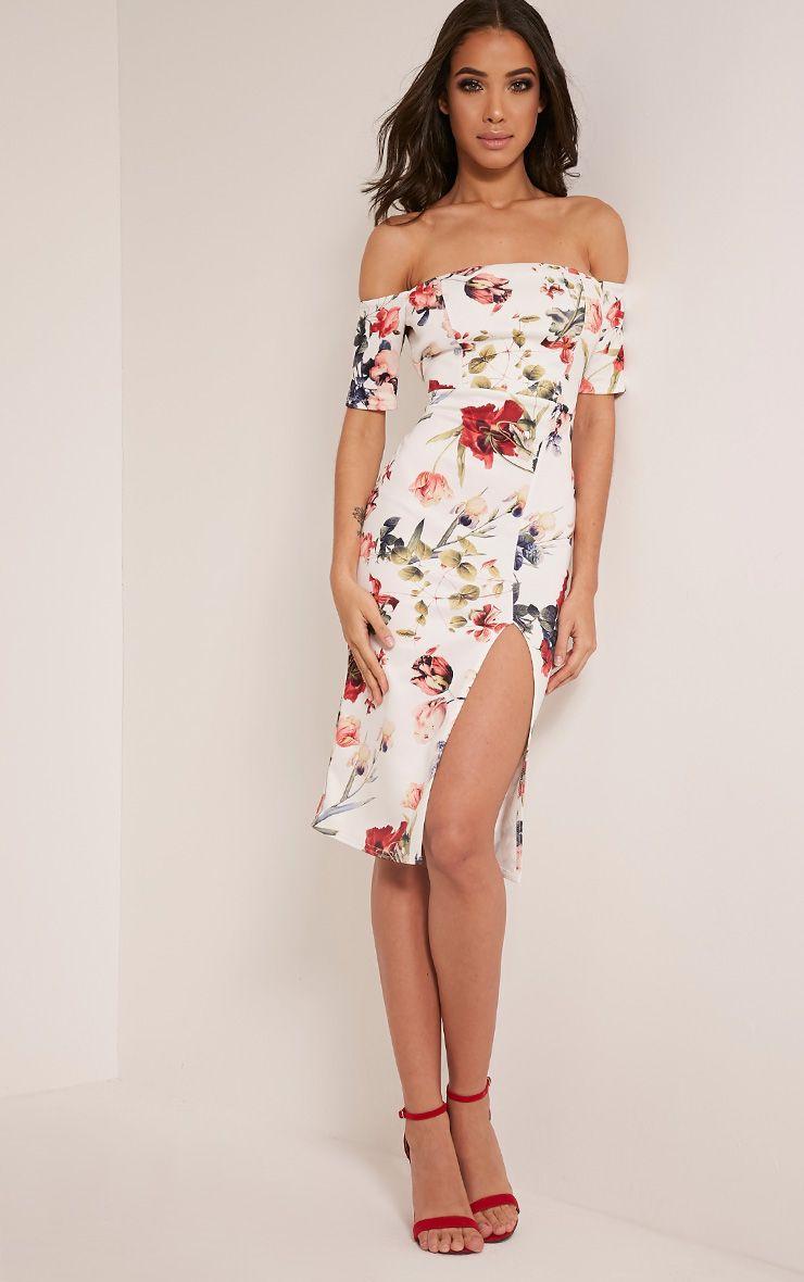 Sharlea White Bardot Floral Print Midi Dress 1