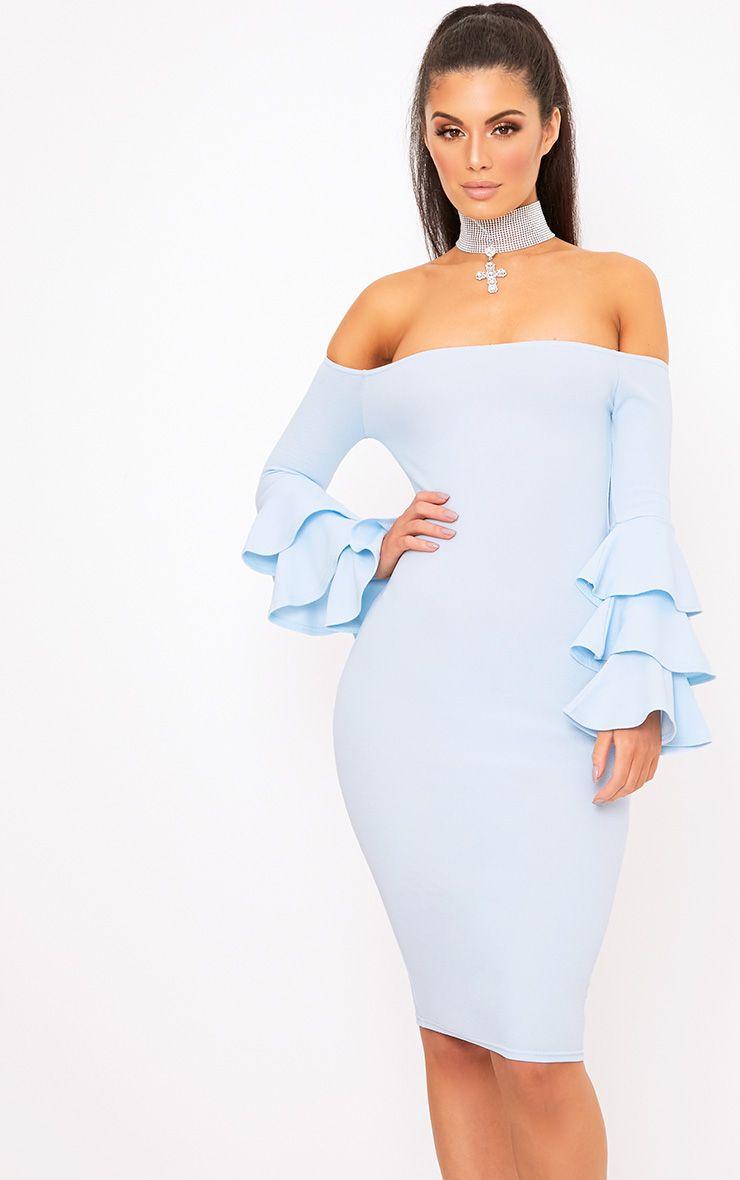 Dusty Blue Bardot Ruffle Sleeve Midi Dress