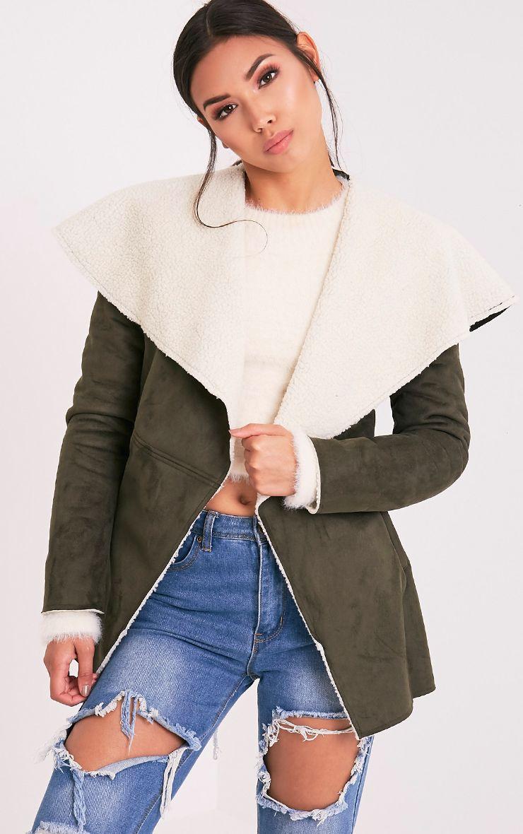Irise Khaki Faux Suede Shearling Aviator Style Coat 1