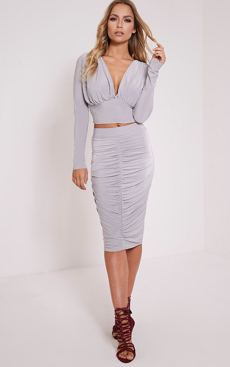 Nicole Grey Slinky Ruched Midi Skirt 1