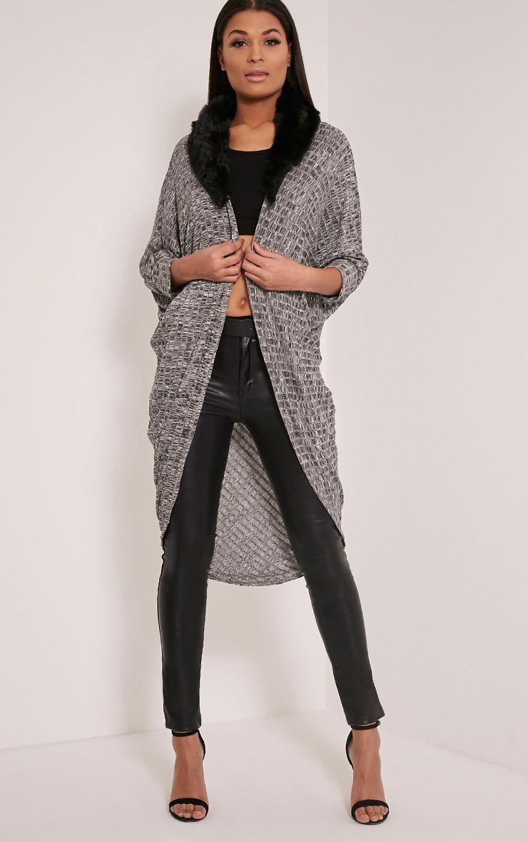 Terissa Grey Fur Collar Cocoon Cardigan 1