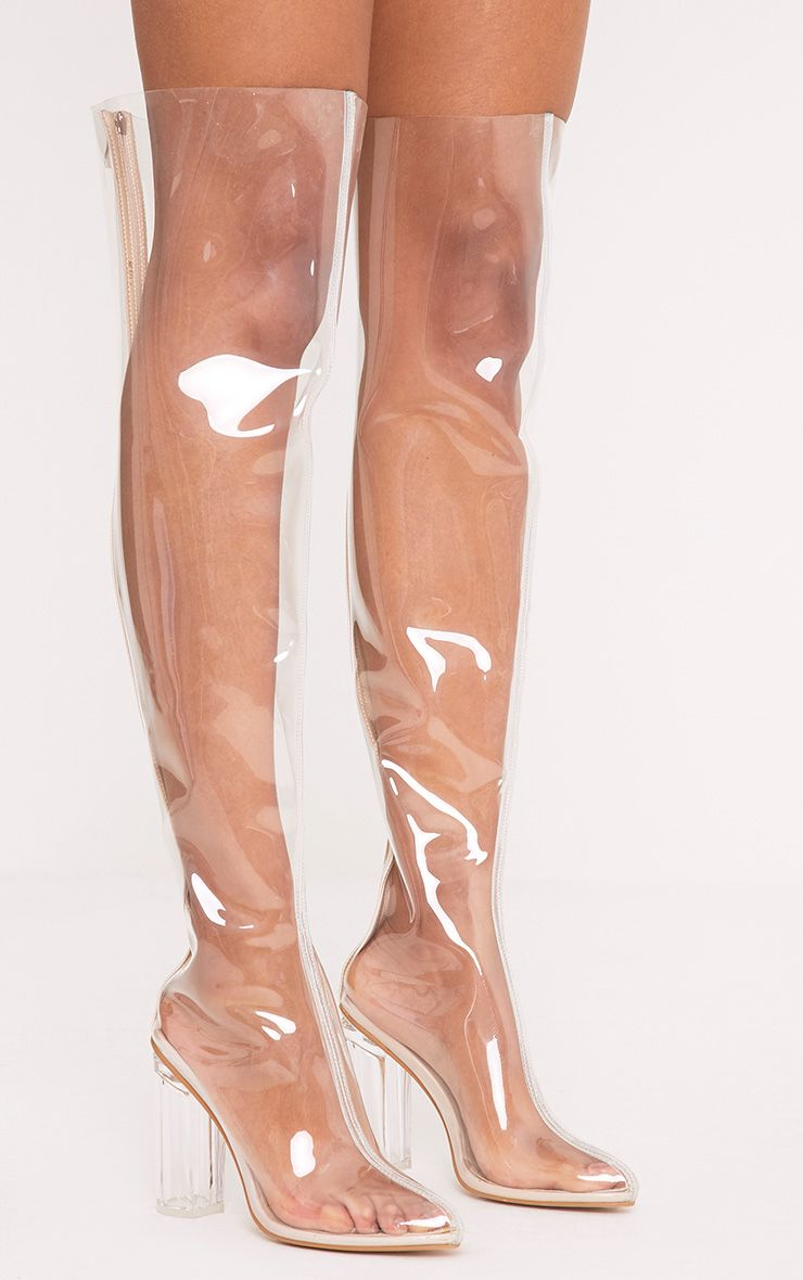 Raquela Clear Perspex Thigh High Boots