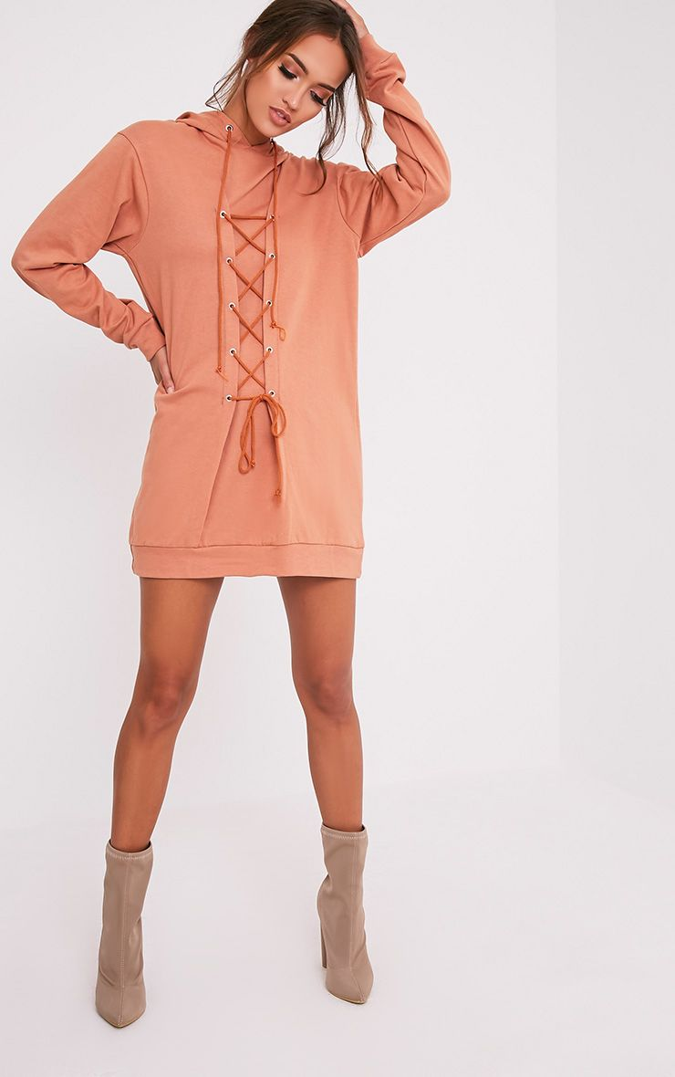 Bexie Deep Peach Lace Up Hooded Sweater Dress 1